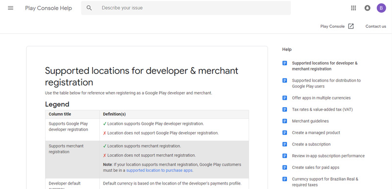Suporte pagamentos Google Play e Merchant